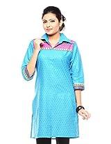 Purab Paschim women's Casual Printed VIVID BLUE Kurti