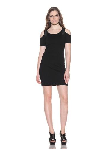 under.ligne by Doo.Ri Women's Leather Trim Cold Shoulder Dress (Black)