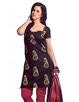 Lavis Women's Black & Maroon Pure Cotton Dress Material