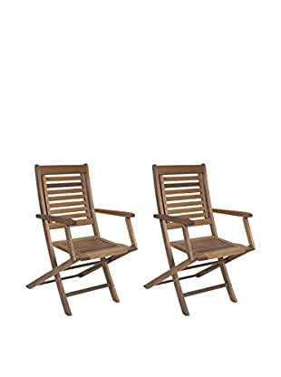 Amazonia Set of 2 Parati Eucalyptus Folding Armchairs, Brown