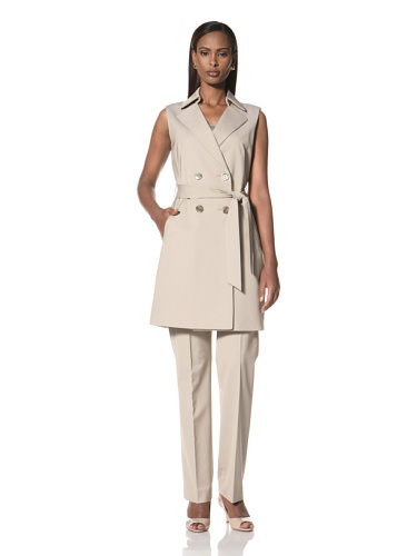 Tahari by A.S.L. Women's Long Jacket with Pants (Tan Beige)