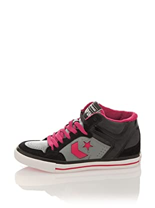 Converse Zapatillas Lady Weapon Mid Suede/Leather (Negro / Fucsia)