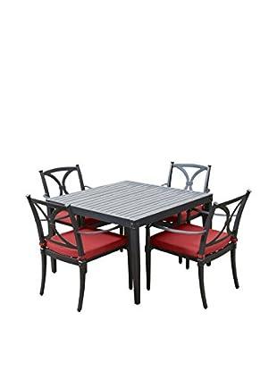 RST Brands Astoria 5-Piece Cafe Dining Set, Red