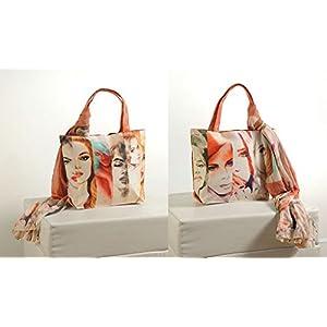 Shopping World Faux Silk With Shiffon Stole Hand Bag - Stripegals