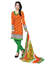 BanoRani Womens Orange Color Casual & Printed PolyCotton Ladies Unstitched Salwar Suit Dress Material with Printed Dupatta