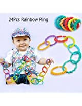 24Pcs Baby Kid Rainbow Circle Fingers Connected Loop Baby Toy Hung Rattles