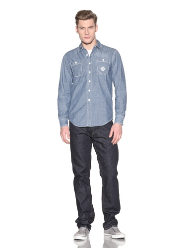 Under Two Flags Men's Cardiff Chambray Western Shirt (Stone Wash)