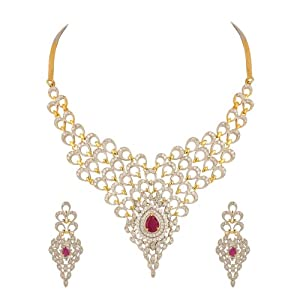 Voylla Gold Plated Maroon Peacock Plumage Necklace Set Studded With American Diamonds