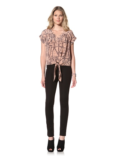 Akiko Women's Tie Front Silk Top (Dry Rose Print)