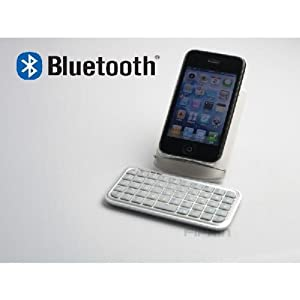 Bluetooth ミニキーボードiphone ipad 白 iphone 3GS/4 ipad対応 日本語入力可
