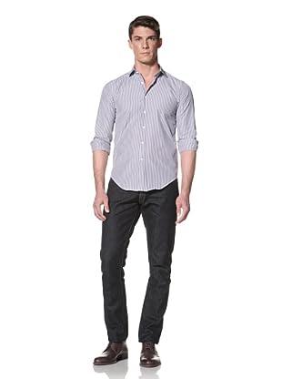 Simon Spurr Men's Striped Shirt (Blue and White)