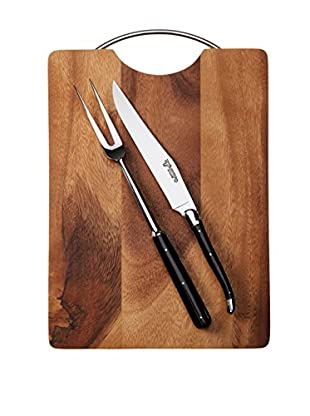 Laguiole en Aubrac Acacia Wood Board & Buffalo Horn Carving Duo, Black