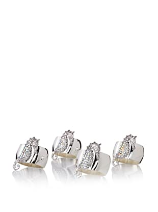 Isabella Adams Set of 4 Sea Horse Napkin Rings with Swarovski Crystals, Silver