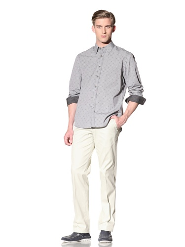 Report Collection Men's Mini Check Shirt with Polka Dots (Black)