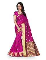 Shree Sanskruti Self Design Tassar Silk Purple Color Saree For Women With Blouse Piece