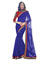 Purple Color Georgette Saree with Border and Blouse 10614