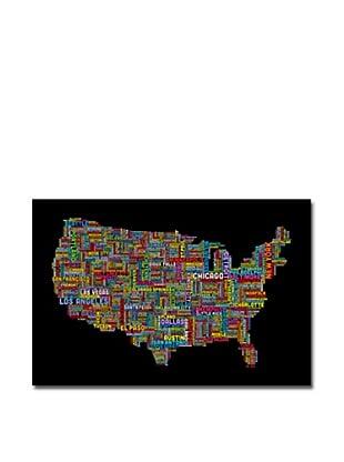 Michael Tompsett US Cities Text Map II Print on Canvas (Multi)