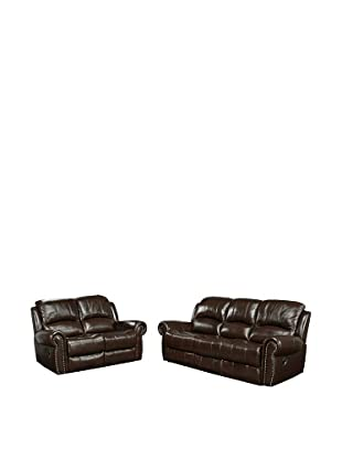 Abbyson Living Hogan Reclining Italian Leather Sofa & Loveseat, Burgundy