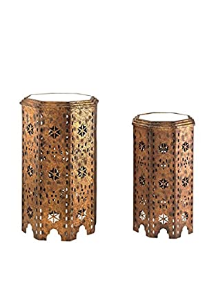 Artistic Set of 2 Global Moroccan Side Tables, Gold Leaf/Bronze/Clear