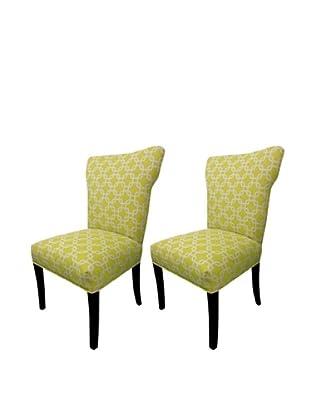 Sole Designs Set of 2 Bella Citrus Wingback Chairs