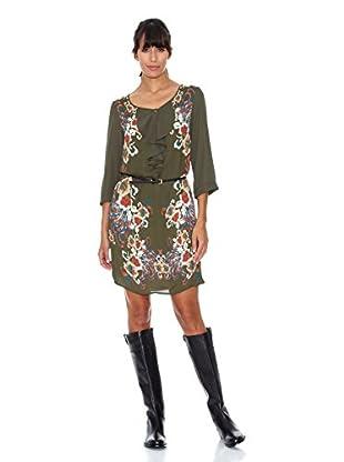 Cortefiel Vestido Print (Verde)