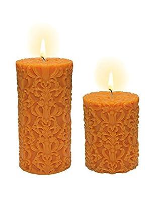 Volcanica Set of 2 Orange Paramount Pillar Candles