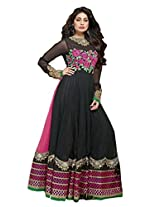 Admyrin Women's Black and Pink Net Embroidered Salwar Suit