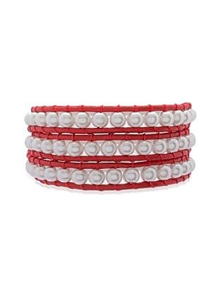 Lucie & Jade Echtleder-Armband Imitationsperlen rot/weiß