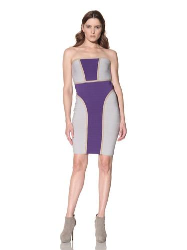 Cut25 Women's Techno Knit Fitted Dress (Purple/Grey)