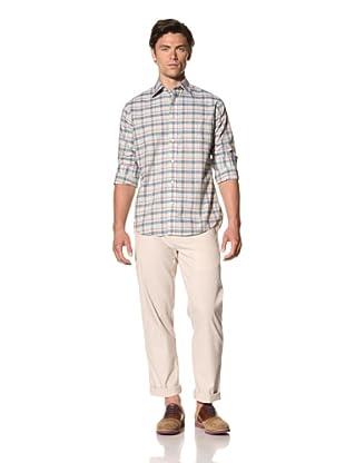Haspel Men's Plaid Shirt (Green Plaid)