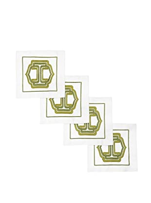 Trina Turk Set of 4 Ogee Embroidered Cocktail Napkins (Green)