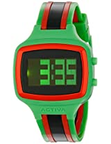 Activa By Invicta Unisex AA400-013 Black Digital Dial Green, Black and Red Polyurethane Watch