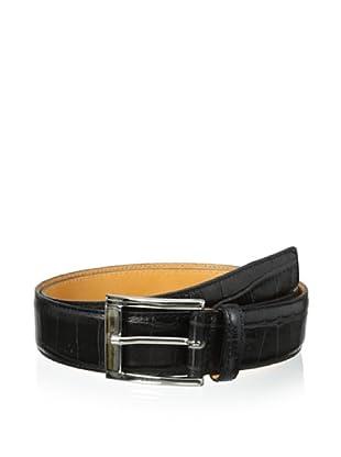 Leone Braconi Men's Crocodrillo Stampato Embossed Belt (Black)