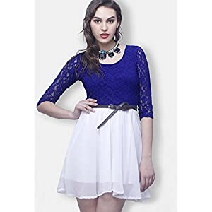 3 / 4 Th Sleeves Blue Colored Stylish Embroidered Dress By FabAlley
