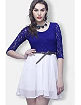 3/4Th Sleeve Blue Embroidered Dress