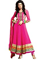 Aesthetic Rani Pink Semi Stitched Churidar Kameez Set