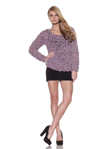 Foley + Corinna Women's Norma Crochet Chiffon Sweater (Dusty Lavender)