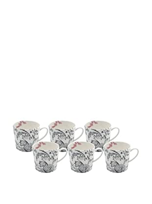 Elinno Set of 6 Love in the Air Mugs, White/Multi, 3.5