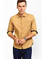 Solid Beige Casual Shirt Locomotive