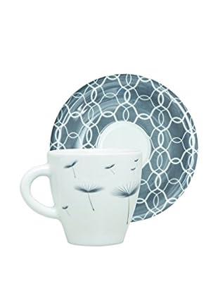 Molecuisine Kaffeetasse mit Untertasse 4er Set Magatama grau