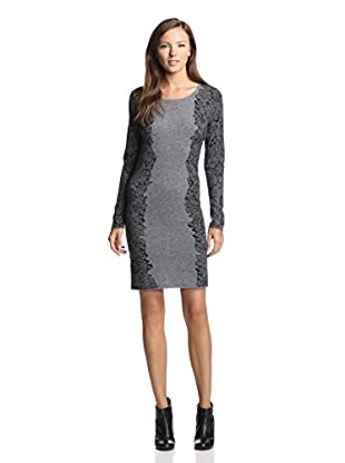 Kier & J Women's Lace Print Sweater Dress (Gris/Black)