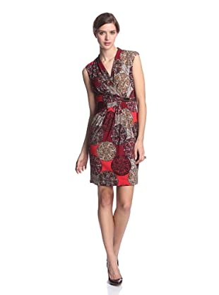 Ellen Tracy Women's V-Neck Dress with Waist Detail (Red Multi)