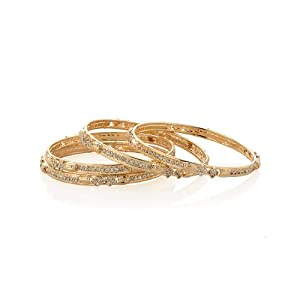 Voylla Set of Four Bangles with Sleek Channel Set Cz Design, Gold Plating, Size 2-6