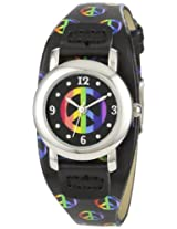 Frenzy Kids' FR274 Round Peace Black Strap Watch