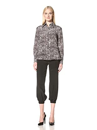 Christian Siriano Women's Print Button-Up Blouse (Static)