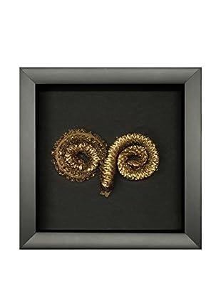 Star Creations Gold Ram Horn Shadowbox Art