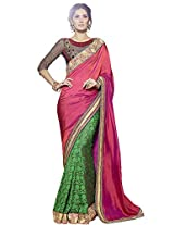 KVS FAB Pink Green Two Tone Fancy Georgette Pallu Georgette Jacquard Skirt Saree