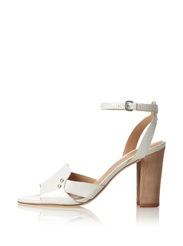 Sigerson Morrison Women's Bunch Ankle-Strap Sandal (Bone Patent)