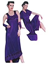 Indiatrendzs Bridal Sexy Hot Nighty Dark Purple 2pc Set Silk Satin Lingerie Evening Wear