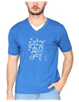 Campus Sutra Royal Blue Double V Neck Tshirt String